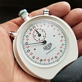 HEUER Trackmaster 1970s 66mm 1/10 Second Timer Vintage Stopwatch Swiss LV533