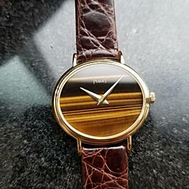 Piaget Ladies Classique 18K Solid Gold Tiger's Eye 1980s 27mm Swiss Luxury LV534