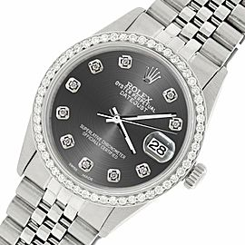 Rolex Datejust Steel 36mm Jubilee Watch/1.1CT Diamond Dark Grey Dial