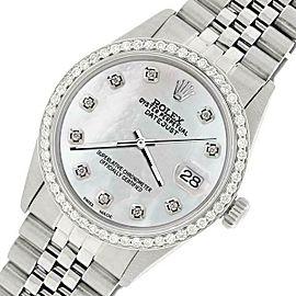Rolex Datejust Steel 36mm Jubilee Watch/1.1CT Diamond Grey Pearl Dial