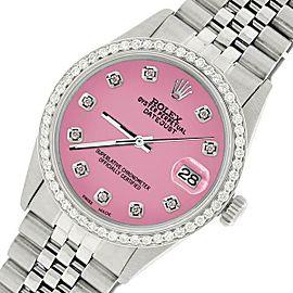Rolex Datejust Steel 36mm Jubilee Watch/1.1CT Diamond Hot Pink Dial