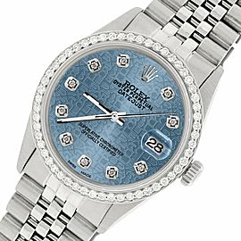 Rolex Datejust Steel 36mm Jubilee Watch/1.1CT Diamond Ice Blue Diamond Dial