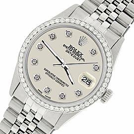 Rolex Datejust Steel 36mm Jubilee Watch/1.1CT Diamond Linen White Dial