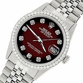 Rolex Datejust Steel 36mm Jubilee Watch/1.1CT Diamond Maroon Vignette Dial