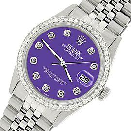 Rolex Datejust Steel 36mm Jubilee Watch/1.1CT Diamond Pastel Purple Dial