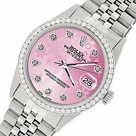 Rolex Datejust Steel 36mm Jubilee Watch/1.1CT Diamond Peach Flower Dial