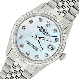 Rolex Datejust Steel 36mm Jubilee Watch/1.1CT Diamond Sky Blue Pearl Dial