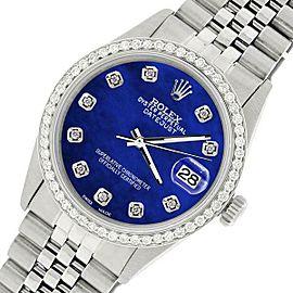Rolex Datejust Steel 36mm Jubilee Watch/1.1CT Diamond Blue Pearl Dial
