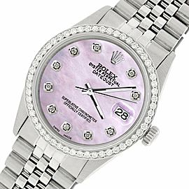 Rolex Datejust Steel 36mm Jubilee Watch/1.1CT Diamond Pink Pearl Dial
