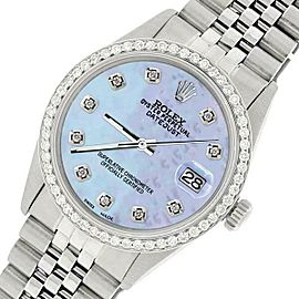 Rolex Datejust Steel 36mm Jubilee Watch/1.1CT Diamond Purple MOP Dial