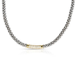 Lagos Caviar Diamond Necklace in Sterling Silver 0.5 CTW