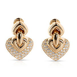 Bulgari Doppio Cuore Diamond Earrings in 18K Yellow Gold 3 CTW