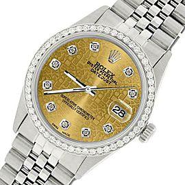 Rolex Datejust Steel 36mm Jubilee Watch/1.1CT Diamond Champagne Diamond Dial