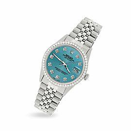 Rolex Datejust Steel 36mm Jubilee Watch/1.1CT Diamond Turquoise Rolex Dial