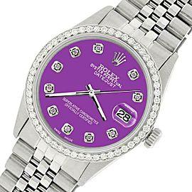 Rolex Datejust Steel 36mm Jubilee Watch/1.1CT Diamond Sangria Purple Dial