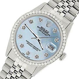 Rolex Datejust Steel 36mm Jubilee Watch/1.1CT Diamond Sky Blue Dial