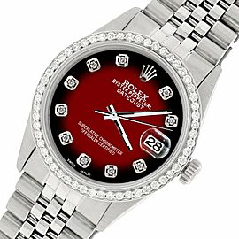 Rolex Datejust Steel 36mm Jubilee Watch/1.1CT Diamond Red Vignette Dial