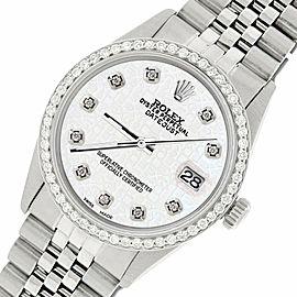 Rolex Datejust Steel 36mm Jubilee Watch/1.1CT Diamond White Diamond Dial