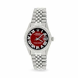 Rolex Datejust 36MM S Steel Watch w/ Diamond Bezel/Red Black Vignette Roman Dial