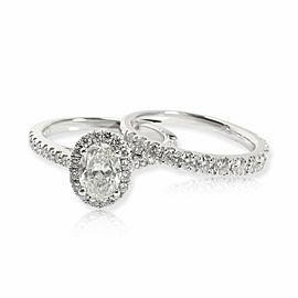 Oval Halo Diamond Engagement Wedding Set in White Gold GIA H SI2 1.88 CTW