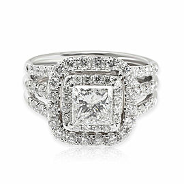 Halo Princess Cut Diamond Engagement Ring in 14K White Gold 2.25 CTW