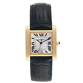 Cartier Tank Francaise Yellow Gold Black Strap Mens Watch W5000156