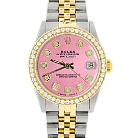 Womens Rolex Datejust 2-Tone Gold/Steel 31mm Watch Hot Pink Dial & Diamond Bezel