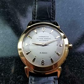 Men's Ulysse Nardin 18k Solid Gold Automatic 35mm Watch 1960s Vintage LV654