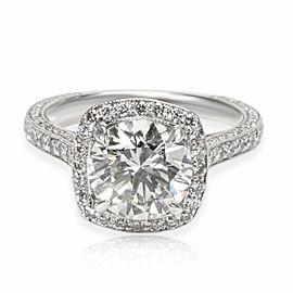 Diamond Halo Engagement Ring in 18K White Gold GIA Certified J SI2 1.86 CTW