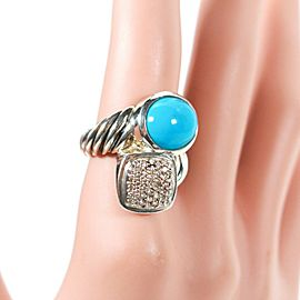 David Yurman - Turquoise Diamond Ring - Sterling Silver - US 6