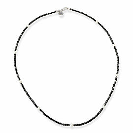 Tiffany Faceted Black Spinel & Freshwater Pearl Necklace in Sterling Silver