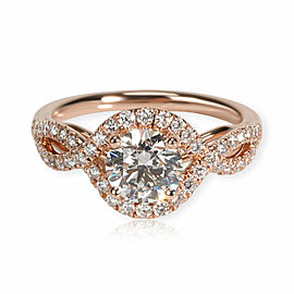 Coast Halo Diamond Engagement Ring in 14K Rose Gold GIA Certified E SI1 1.05 CTW