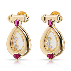 Chopard Vintage Happy Diamonds & Rubies Earrings in 18K Yellow Gold