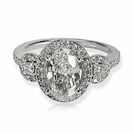 Oval Halo Diamond Engagement Ring in 14K White Gold K VS1 1.67 CTW