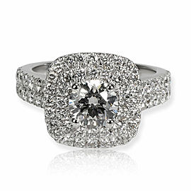 Double Halo Diamond Engagement Ring in 18K White Gold GIA G VS2 1.60 CTW