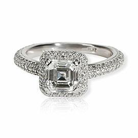 Halo Diamond Emerald Engagement Ring in Platinum F SI1 1.75 CTW
