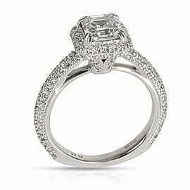 Halo Diamond Emerald Engagement Ring in Platinum F SI1 1.75 CTW