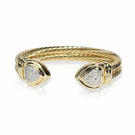 David Yurman Cable Diamond Heart Bracelet in 18K Yellow Gold 0.60 CTW