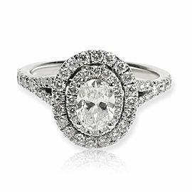 Neil Lane Oval Halo Diamond Engagement Ring in 14K White Gold 1.00 CTW