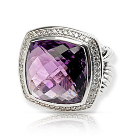 David Yurman Albion Amethyst & Diamond Ring in Sterling Silver
