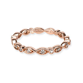Gabriel & Co. Ribbon Stacking Diamond Wedding Band in 14K Rose Gold 0.20 CTW