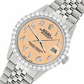 Rolex Datejust 36MM Steel Watch w/ 3.35CT Diamond Bezel/Mustard Arabic Dial