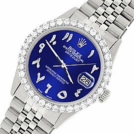 Rolex Datejust 36MM Steel Watch w/ 3.35CT Diamond Bezel/Navy Blue Arabic Dial