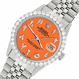 Rolex Datejust 36MM Steel Watch w/ 3.35CT Diamond Bezel/Pastel Orange Dial