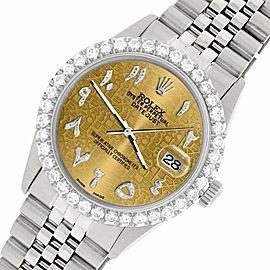Rolex Datejust 36MM Steel Watch w/ 3.35CT Diamond Bezel/Champagne Arabic Dial