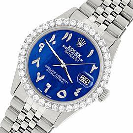 Rolex Datejust 36MM Steel Watch w/ 3.35CT Diamond Bezel/Royal Blue MOP Dial