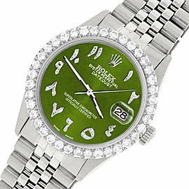 Rolex Datejust 36MM Steel Watch w/ 3.35CT Diamond Bezel/Royal Green Arabic Dial