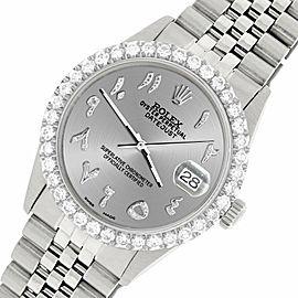 Rolex Datejust 36MM Steel Watch w/ 3.35CT Diamond Bezel/Silver Arabic Dial