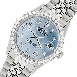 Rolex Datejust 36MM Steel Watch w/ 3.35CT Diamond Bezel/Sky Blue MOP Arabic Dial