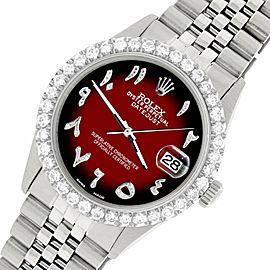 Rolex Datejust 36MM Steel Watch w/ 3.35CT Diamond Bezel/Vignette Red Black Dial